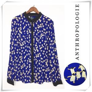 Anthropologie Maeve Penguin Print Blouse Shirt